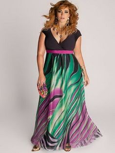 Ooo la la Rainforest Paradise Plus Size Maxi Dress - Evening Dresses by IGIGI Dress Plus Size, Evening Dresses Plus Size, Plus Size Maxi Dresses, Plus Size Outfits, Casual Dresses, Fashion Dresses, Summer Dresses, Summer Maxi, Holiday Dresses