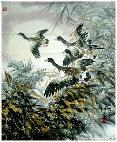 (North Korea) Wild Goose by Lee Cheol (1958-  )