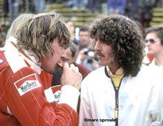 James Hunt and George Harrison. Long Beach F1 1977