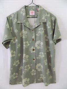 Trader Joe's Shirt Hibiscus Flower Floral, Hawaiian Short sleeve SZ- M GREEN, LN #TraderJoes #Hawaiian