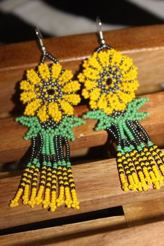 Huichol Beaded Sun Flower Double Layered ZZ-Yellow by HuicholArte Beaded Earrings, Crochet Earrings, Drop Earrings, Huichol Art, Bead Sewing, Sunflower Flower, Beaded Ornaments, Metal Beads, Bead Art