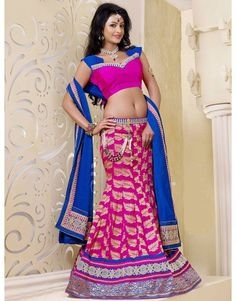 Pink Art Silk Lehenga Choli with Zari Work