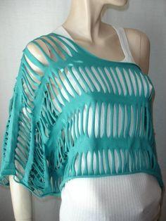 t-shirt recycled - looks like crochet' top.