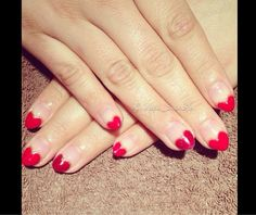 Heart French valentines day nails created using CND shellac