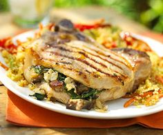Tired of plain pork chops? Try this chop recipe with a ginger jelly glaze and a hearty mushroom and spinach stuffing.