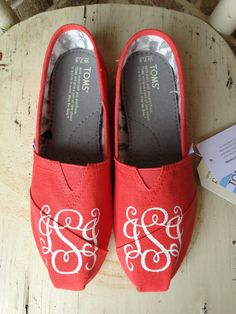 Hand Painted Vine Monogrammed Custom Vegan TOMS by brushandbow, $100.00