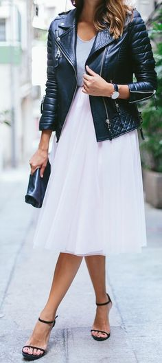 Smart casual - white tulle skirt, grey top, black leather jacket, black heels.