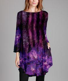 Love this Purple & Black Boatneck Tunic - Plus on #zulily! #zulilyfinds