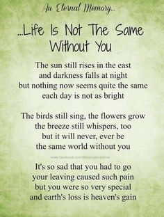 Life is not the same without you Brother Quotes, Dad Quotes, Wisdom Quotes, True Quotes, Qoutes, Remembrance Poems, Meaningful Quotes, Inspirational Quotes, Letter From Heaven