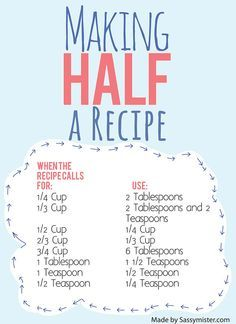 cheat sheet for halving a recipe