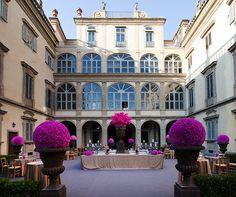 The sun beautifully illuminates the late baroque architecture of the Palazzo Corsini's facade.