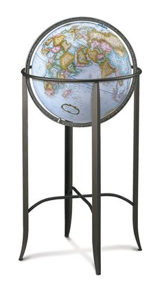 Vintage 12 crams imperial world globe with powell wood floor stand replogle trafalgar globe 16 inch floor standing gumiabroncs Gallery