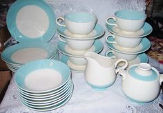 Shabby Cottage Chic Retro Mid Century Mad Men Era Sky Blue Serving 8 Dinner Dish Set