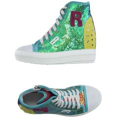 Ruco Line High-tops & Trainers ($350) ❤ liked on Polyvore featuring shoes, sneakers, green, wedges shoes, high top zipper sneakers, leather wedge sneakers, green high top sneakers and sequin sneakers