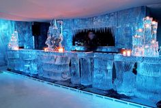 The Bar at an Ice Hotel. Hotel De Glace in Canada.