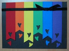 Art & Soul: Mini Heart Rainbow Card--would also look cute with butterflies or flowers