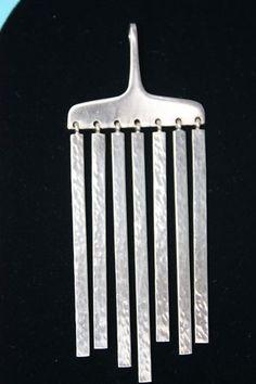Modernist Hans Hansen Pendant Denmark Sterling Silver