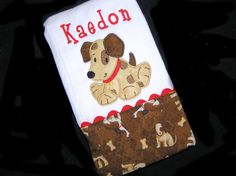 Personalized Baby Burp Cloth - Appliqued Dog - Bow Wow