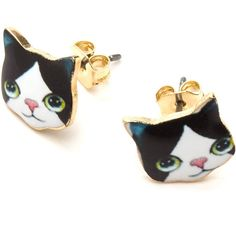 Crazy Cat Lady Earrings ❤ liked on Polyvore featuring jewelry, earrings, earrings jewelry, cat earrings and cat jewelry
