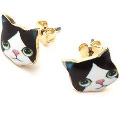 Crazy Cat Lady Earrings ❤ liked on Polyvore featuring women's fashion, jewelry, earrings, earrings jewelry, cat jewelry and cat earrings