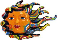 Revamp your decor in any room by adding beautifully handcrafted Talavera wall art. The eye-popping colors and decorations will make a perfect addition to any home. Each piece is handmade of clay and hand-painted by skilled Mexican artisans in Puebla. An eyelet located on the back of each sun makes the Talavera wall art perfect for hanging.
