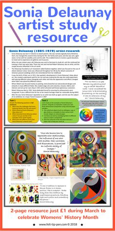 Celebrate Women's History Month with a fantastic artist resource on Sonia Delaunay for just Students complete a comprehension task about the artists and a practical activity responding to their work. Art History Lessons, Art Education Lessons, Art Lessons, History Education, Education Quotes, Online Lessons, Kids Education, Sonia Delaunay, High School Art