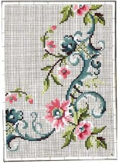 This Pin was discovered by Гал Just Cross Stitch, Cross Stitch Borders, Cross Stitch Flowers, Cross Stitch Designs, Cross Stitching, Cross Stitch Embroidery, Embroidery Patterns, Hand Embroidery, Cross Stitch Patterns