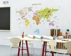 world map sticker – Etsy