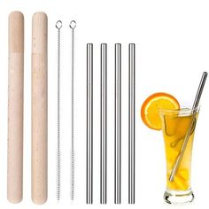 10 Pcs 304 Stainless Steel Drinking Straws Set High Quality Reusable Bent Metal Drinking Straw With Stainless Steel Straws, Brush Cleaner, Drinking, Cleaning, Tableware, Metal, Beverage, Dinnerware, Drink
