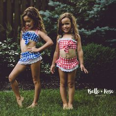 """Completely obsessed with this 2 piece, high waist bottom, plaid bathing suit!! So stylish and trendy for a little girl and it comes in 2 great color combos! Wash & Care Instructions: Wash on """"Delicate"""