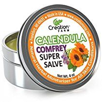 Calendula - Comfrey Salve - Super Salve - Large 4 oz Tin, Super Salve, Herbal Salve. Direct from the Herb Farm, Calendula is an all time favorite herb for dry cracked skin, dermatitis, eczema and psoriasis. Combined these two herbs create a healing salve that people send us new uses for all the time with their testimonials. Customer testimonials over the years have indicated that it is commonly used for Dry Cracking Skin, ...