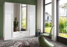 German Trio 4 door Wardrobe White High Gloss & chrome design 2 mirror mega sale