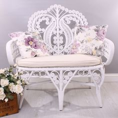 NEW Shabby Chic White Rattan Wicker Cane Small Double Sofa Chair Seat