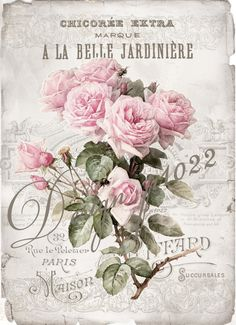 La Belle vintage roses digital collage