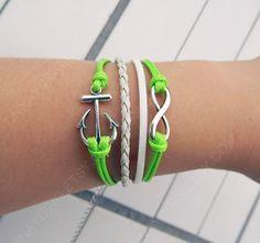 infinity bracelet Anchor  bracelet  Antique Silver by Colorbody, $3.99