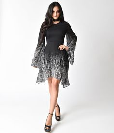Black Crushed Velvet Long Sleeved High Low Flare Dress Cool Dress