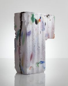 Thaddeus Wolfe . unique assemblage vessel in white with colored markings and amethyst interior hand-blown, cut and polished glass, 2014
