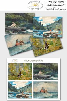 Vintage Printable Gifts for Him DIY, Download Gift Cards for Men, Digital Collage Sheet, Hunting Gift Tag, Fishing Cards, Logging Greeting Card --- 1890s Artwork by Winslow Homer