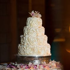 Wedding Cake with Orchid Topper| Ambrosio Photography