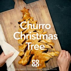 If you make one thing this month, make it the Churro Christmas Tree. Christmas Tree Food, Xmas Food, Christmas Cooking, Christmas Desserts, Holiday Treats, Christmas Treats, Holiday Recipes, Baking Recipes, Snack Recipes