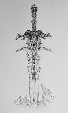 Tattoo Design Drawings, Ink Pen Drawings, Tattoo Sketches, Tattoo Designs, Sword Drawings, King Tattoos, Body Art Tattoos, Horde Tattoo, World Of Warcraft Wallpaper