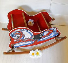 Bouncing Wooden Red Rocking Horse  Vintage Ride On by DivineOrders, $50.00 Unicorn Horse, Doll Display, Vintage Soul, Toys For Girls, Solid Oak, Vintage Decor, Photo Props, Things That Bounce, Shabby