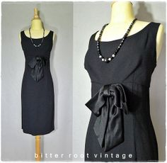 50s dress / classic black 1950s cocktail by bitterrootvintage, $48.00