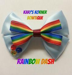 My Little Pony Inspired Bow  Rainbow Dash by KarisKornerBowtique