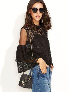 Renda preta camiseta ombro frio plissado hierárquico semi sheer Top manga feminino