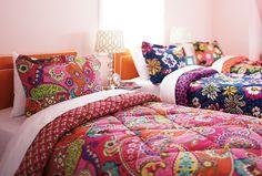 Vera Bradley Fall 2014:  Reversible Comforter Set Twin/Twin XL in Pink Swirls, African Violet and Ziggy Zinnia.  #verabradley #comforter #backtoschool