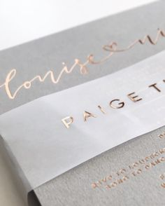 Grey, vellum and rose gold details via @paigetuzee_designs