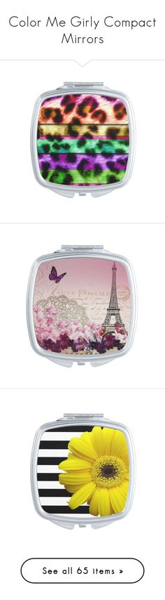 """""""Color Me Girly Compact Mirrors"""" by colormegirly ❤ liked on Polyvore featuring beauty products, beauty accessories, multicolor, home, home decor, mirrors, butterflies, flower home decor, flower stem and paris mirror"""