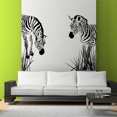 Delightful zebra wall art stencil on lime green living room wall also nice and sleek modern sofa. Charming Home Interior Decoration With Stencil Wall Arts Small Space Living Room, Simple Living Room, Living Room Green, Living Room Art, Zebra Print Bedding, Art Pour Salon, Zebra Wallpaper, Stencil Wall Art, Stencil Vinyl