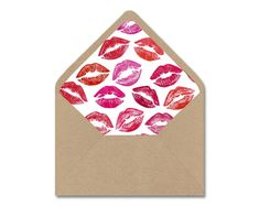DIY Printable Envelope Liner Template - Sealed With a Kiss Valentines Day Lips - Instant Digital Download - Multiple Sizes - A2, A7, 4 Bar by Lindorelli